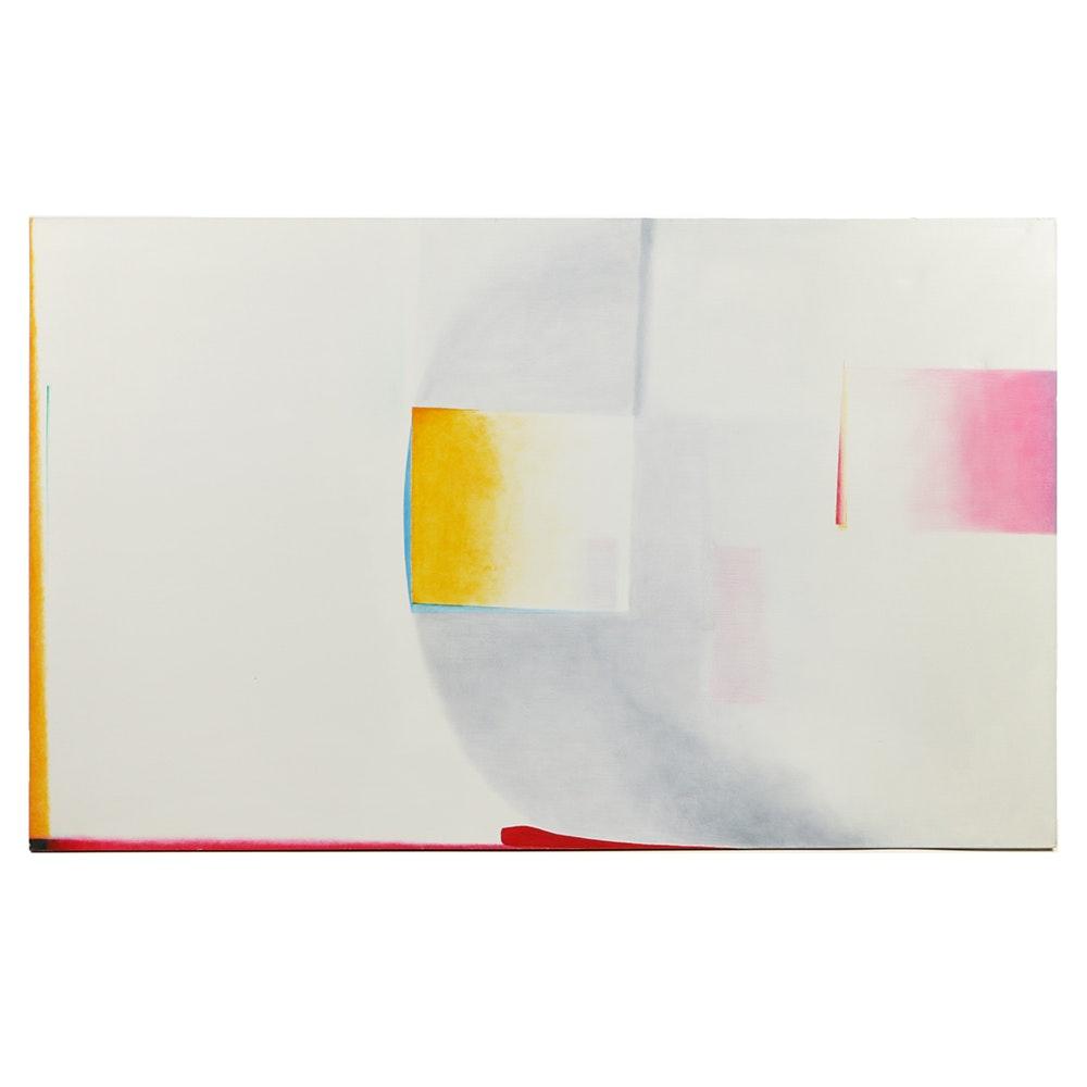 """Beth Hertz 1972 Monumental Oil Painting """"Red Shift"""""""