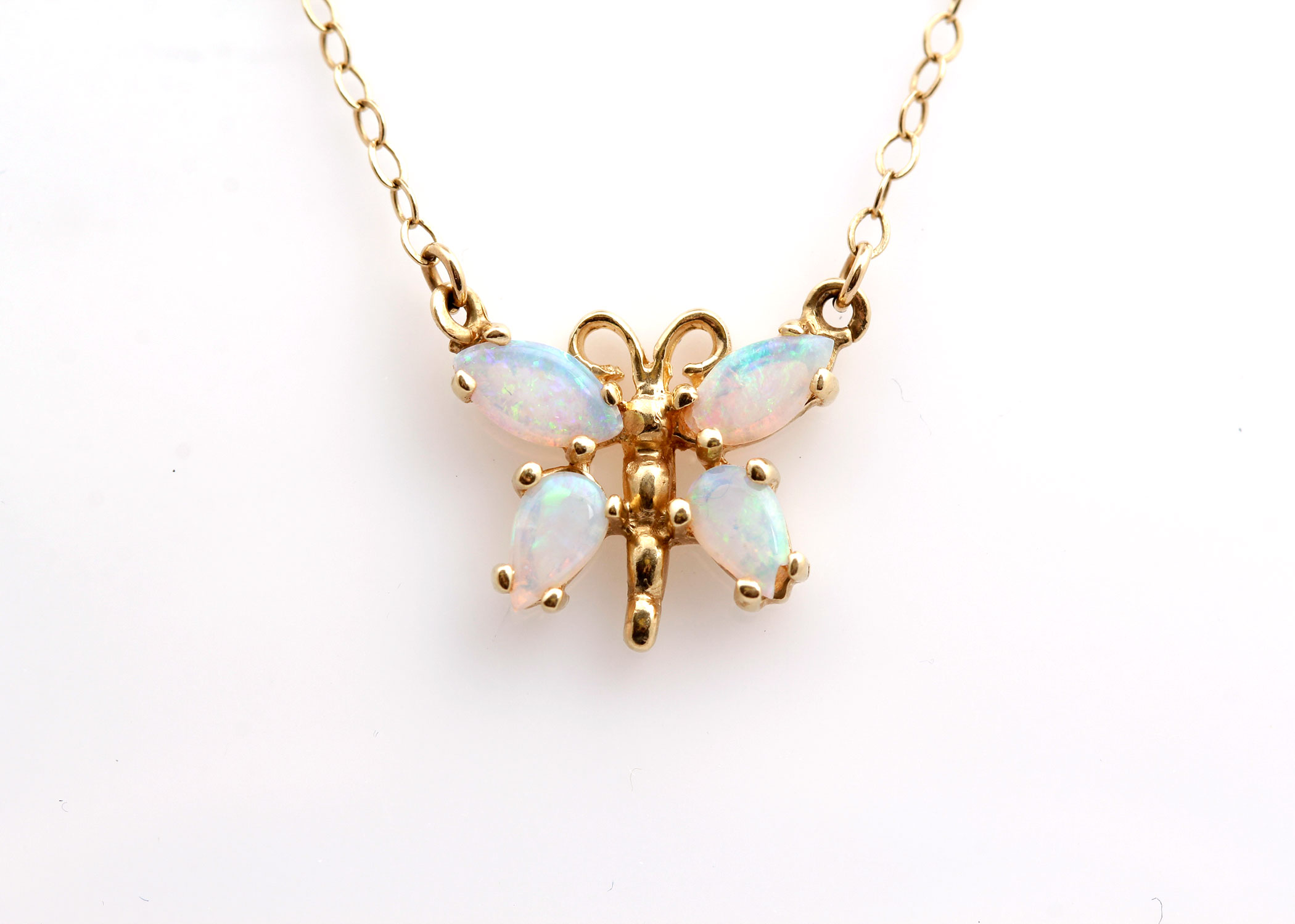 14K Yellow Gold Opal Butterfly Pendant Necklace EBTH