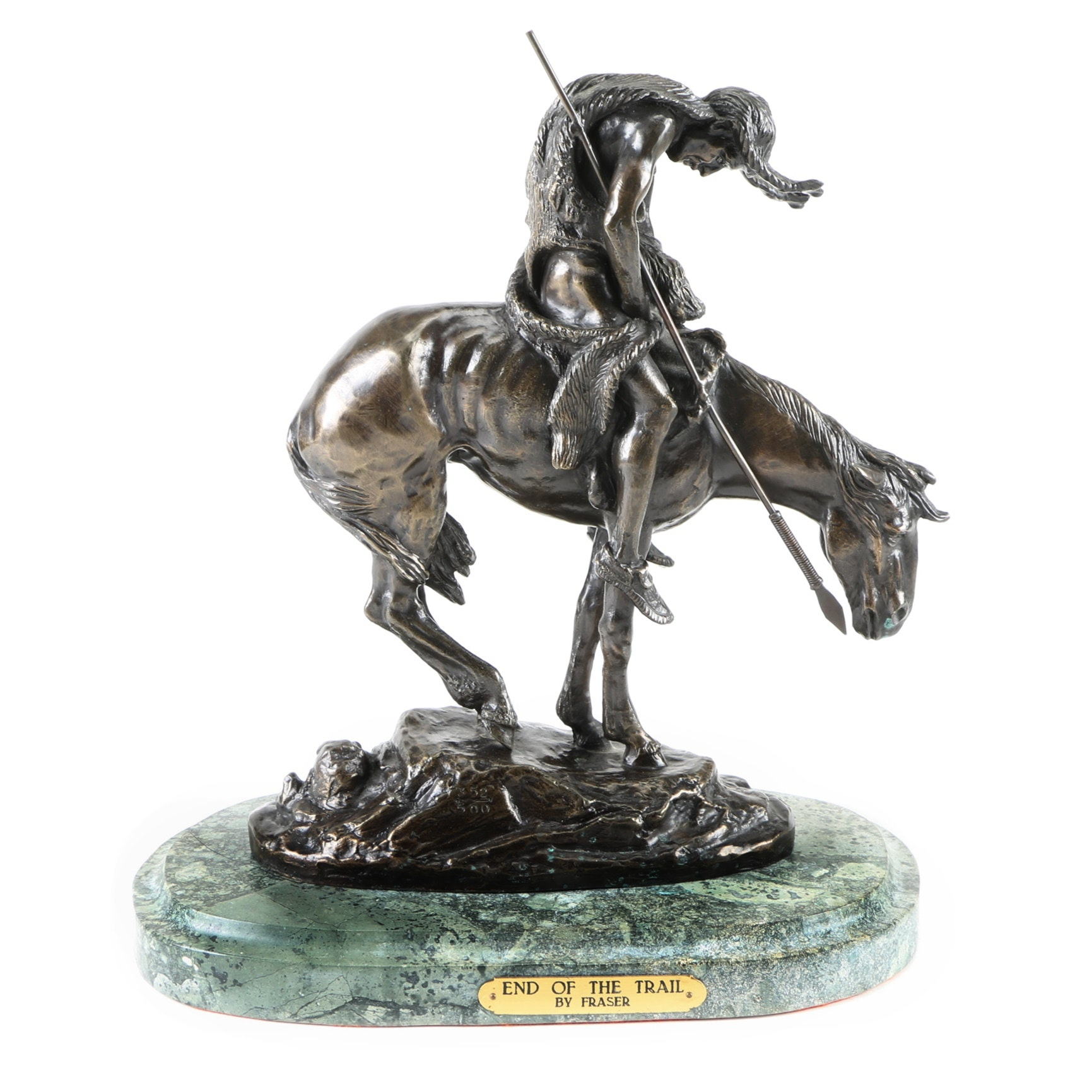"""After James Fraser Reproduction Bronze """"End of the Trail"""""""