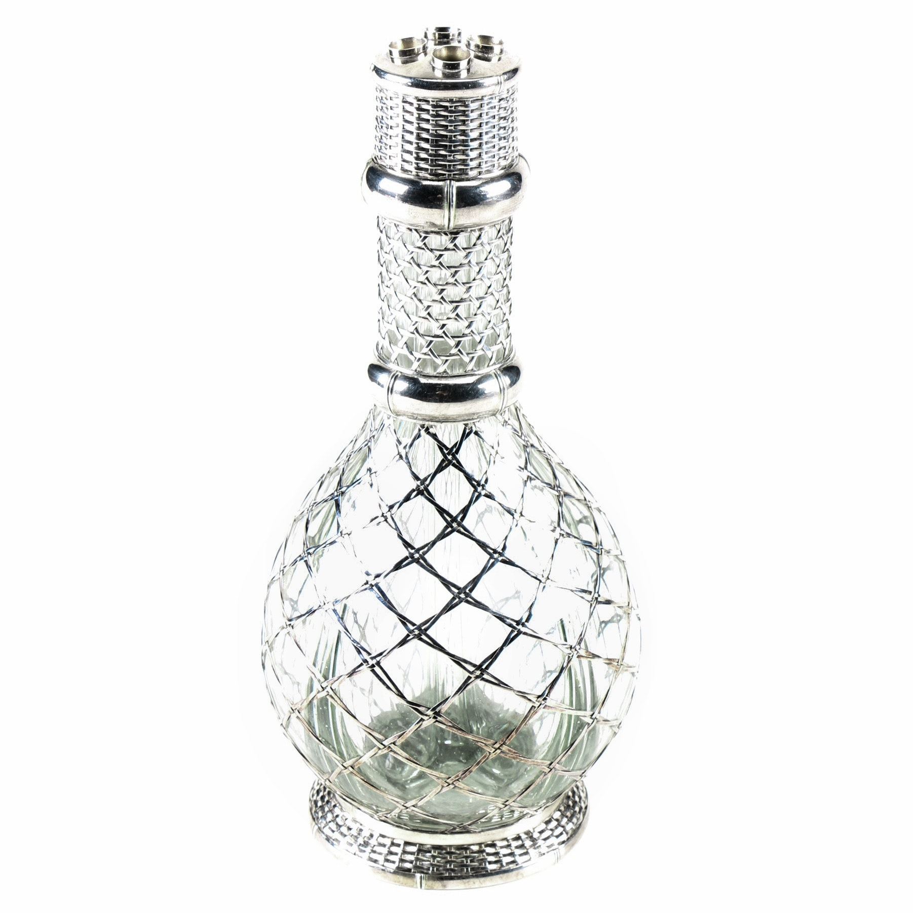 Sterling Silver and Glass Four Part Decanter
