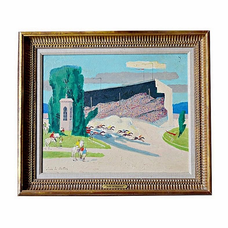 """Jean de Botton Oil on Canvas """"Paris-Les Courses a Longchamps"""""""