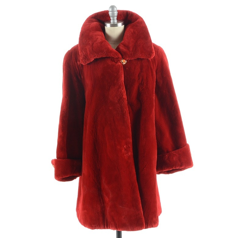 "Susan's Red Sheared Beaver Fur Coat Embroidered ""Susan"" on Lining"