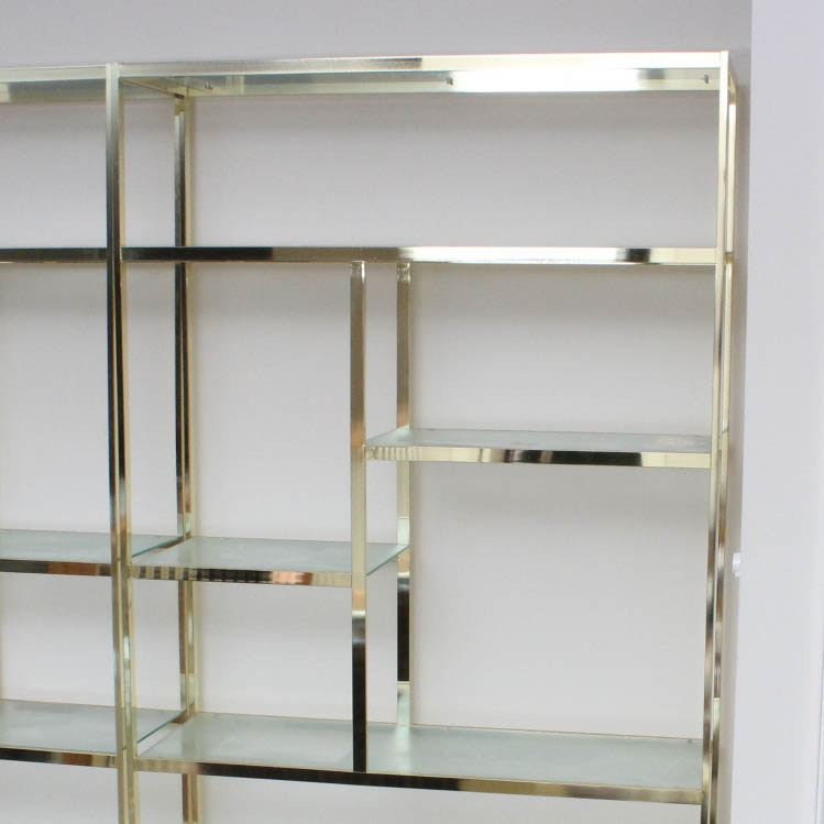 Vintage Geometric Brass And Glass Shelving Unit ...