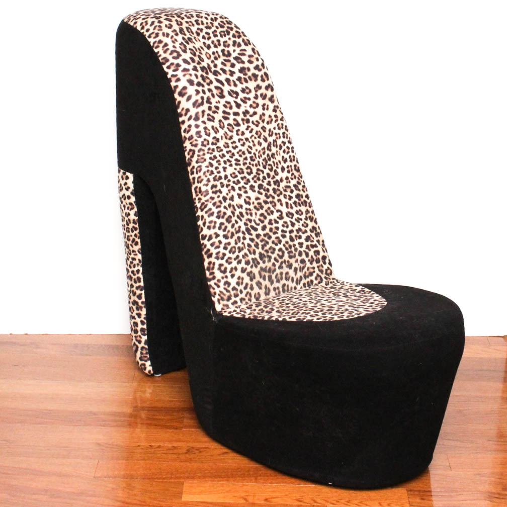 high heel shoe chair Leopard Print High Heel Shoe Chair : EBTH high heel shoe chair