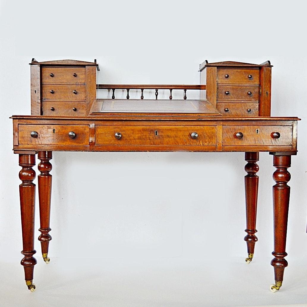Antique Edwardian Dickens Style Mahogany Writing Desk