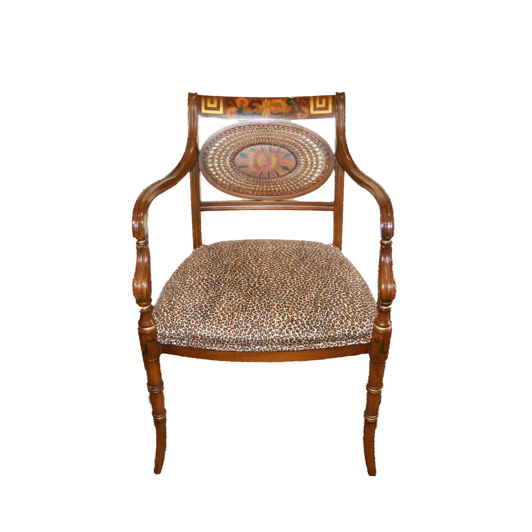 Vintage Adams Style Hand-Painted Chair With Leopard Upholstery