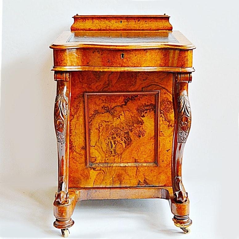 Antique 1860s Victorian Walnut Burl Davenport Desk