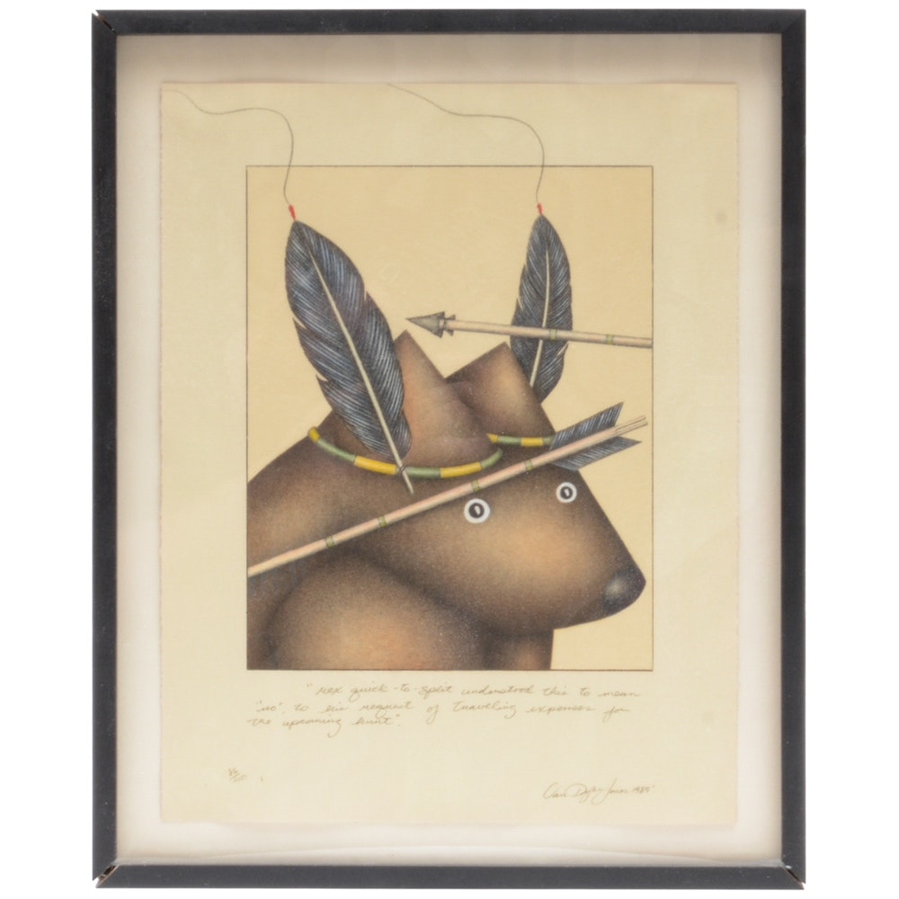 """Signed Limited Edition Van Dyke Jones Lithograph """"Rex"""""""