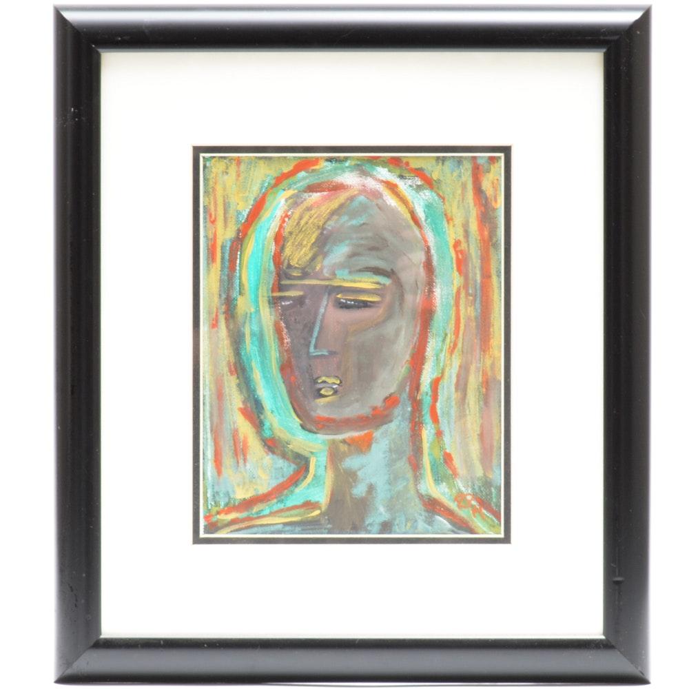 "Original Ron Padgett Acrylic On Canvas ""I Am So Alone, So Alone"""