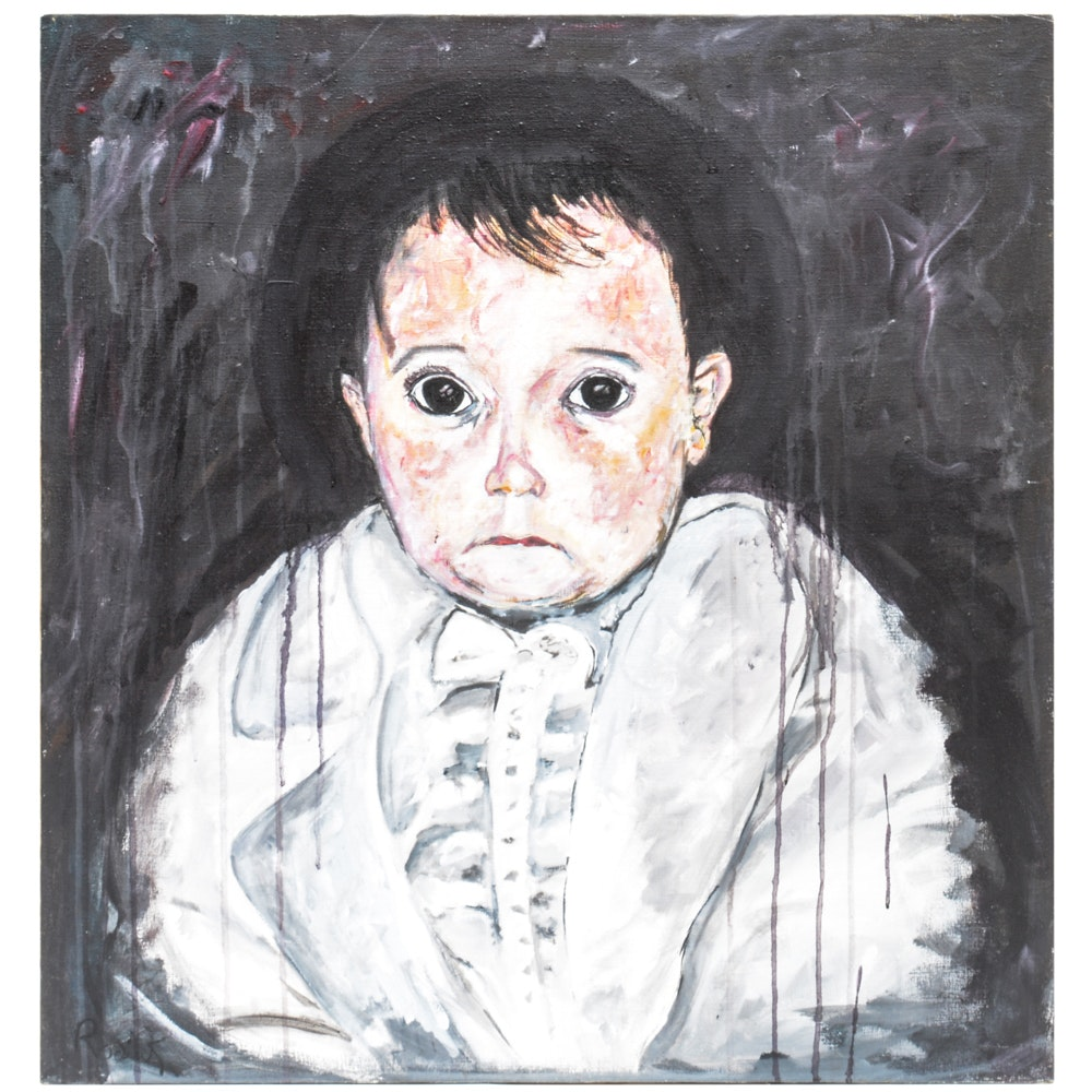 """Roderick Willis Original Oil on Canvas """"Scary Baby"""""""