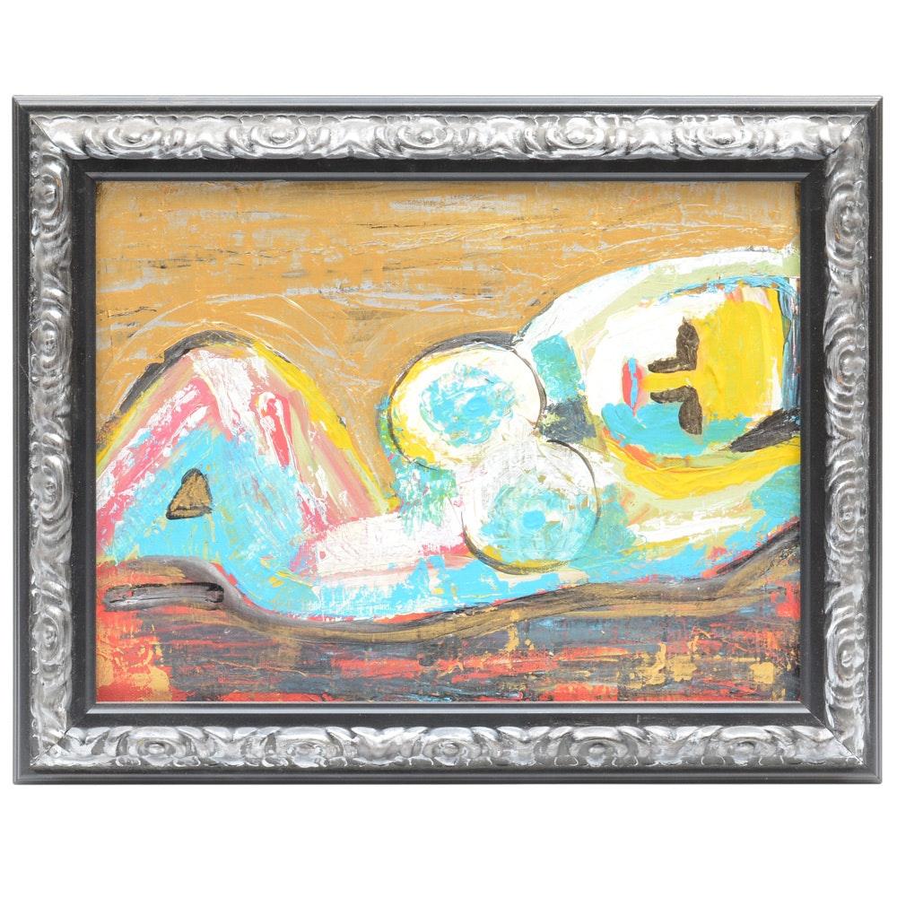 "Original Ron Padgett Acrylic on Canvas ""Cynthia Reposed"""