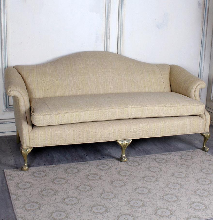 Queen Anne Style Camelback Sofa Ebth
