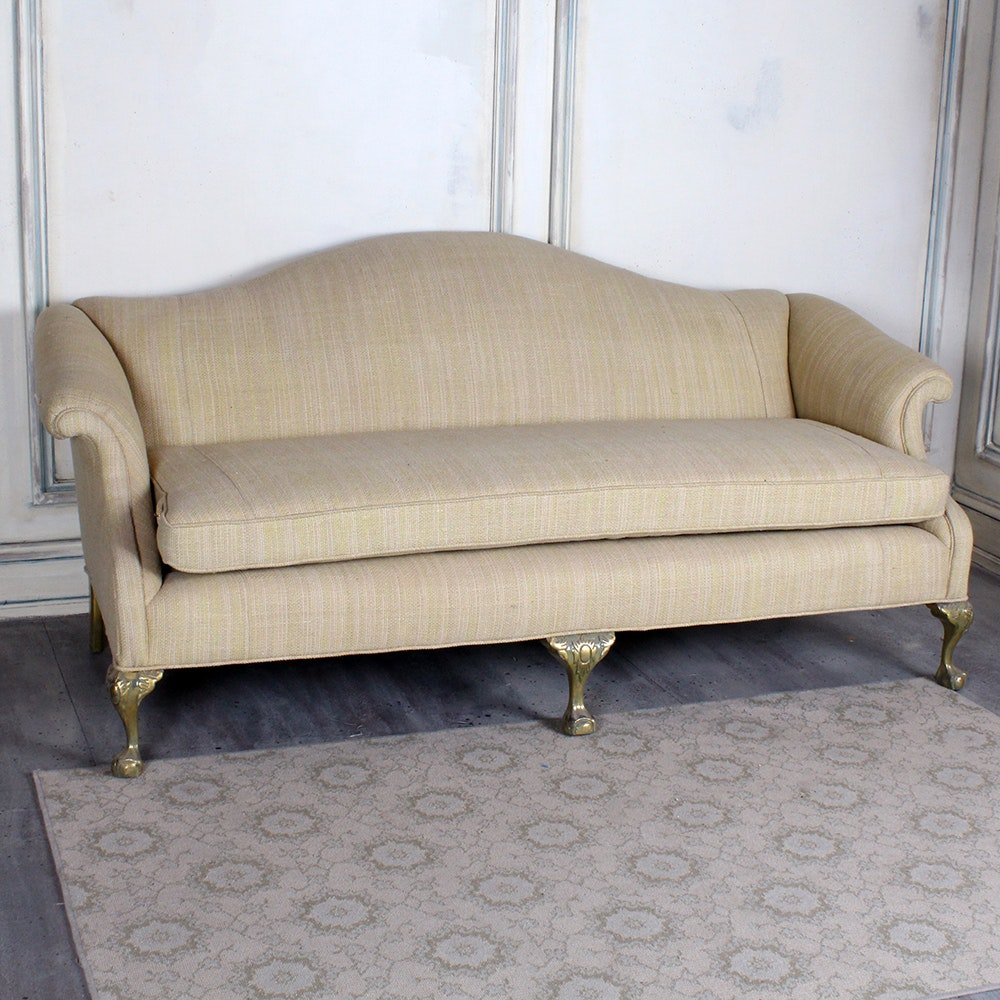 Queen Anne Style Camelback Sofa ...