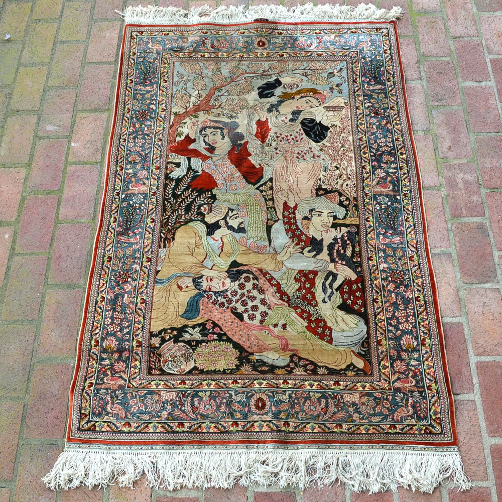 Signed Handwoven Chinese Pictorial Silk Area Rug