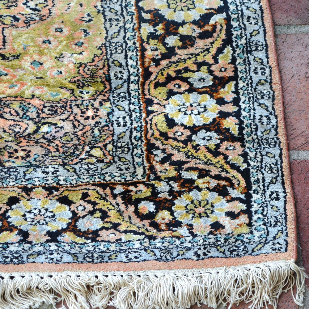Hand Knotted Indo Persian Obeetee Wool Area Rug Ebth: Hand-Knotted Kerman Silk Prayer Rug