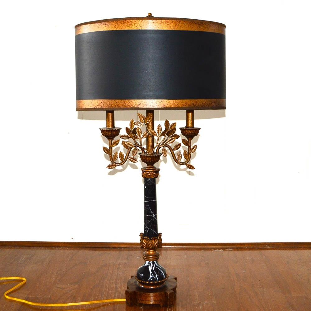 Ornate Marble and Bronze Tone Metal Lamp