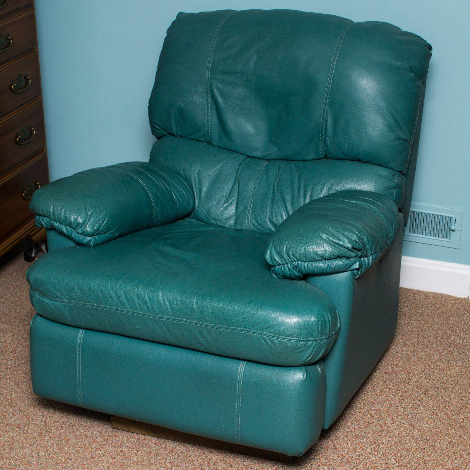Merveilleux Hunter Green Leather Recliner ...