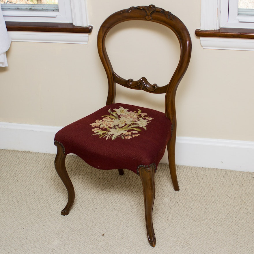 Vintage Needlepoint Accent Chair ... - Vintage Needlepoint Accent Chair : EBTH