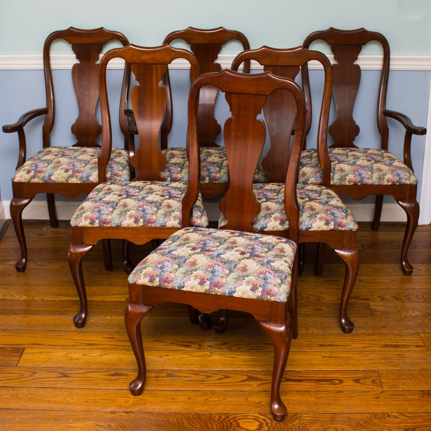 Set Of Queen Anne Cherry Dining Chairs