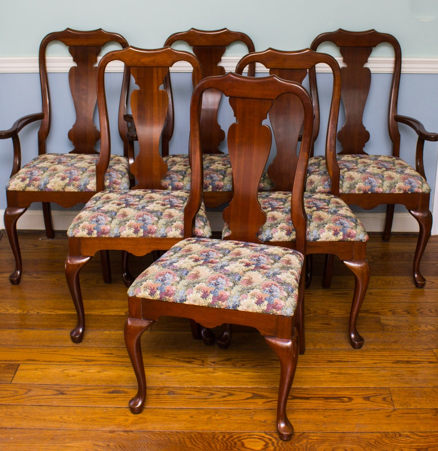 Set of Queen Anne Cherry Dining Chairs : EBTH