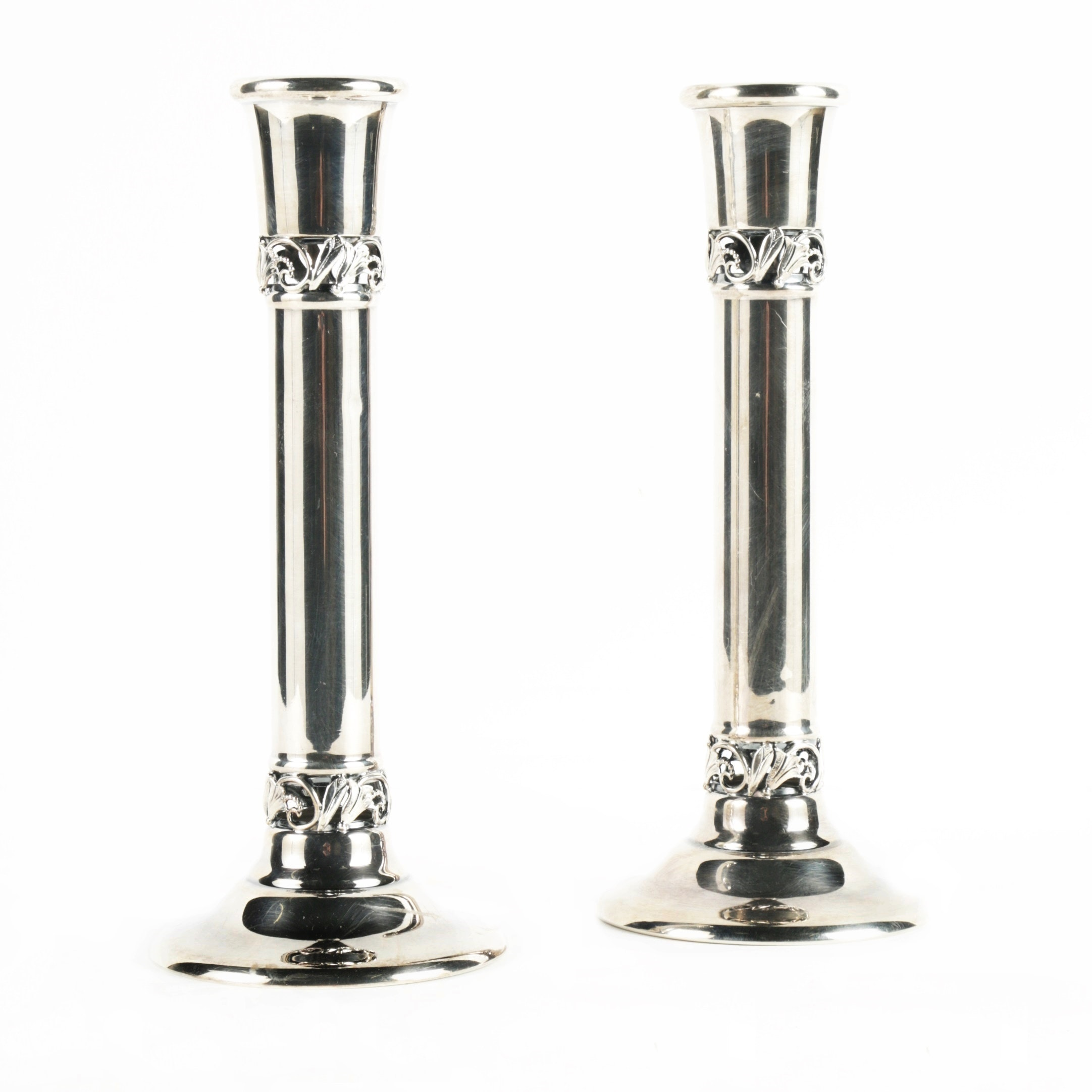 Pair of Sterling Silver Candlesticks with Pierced Floral Bands