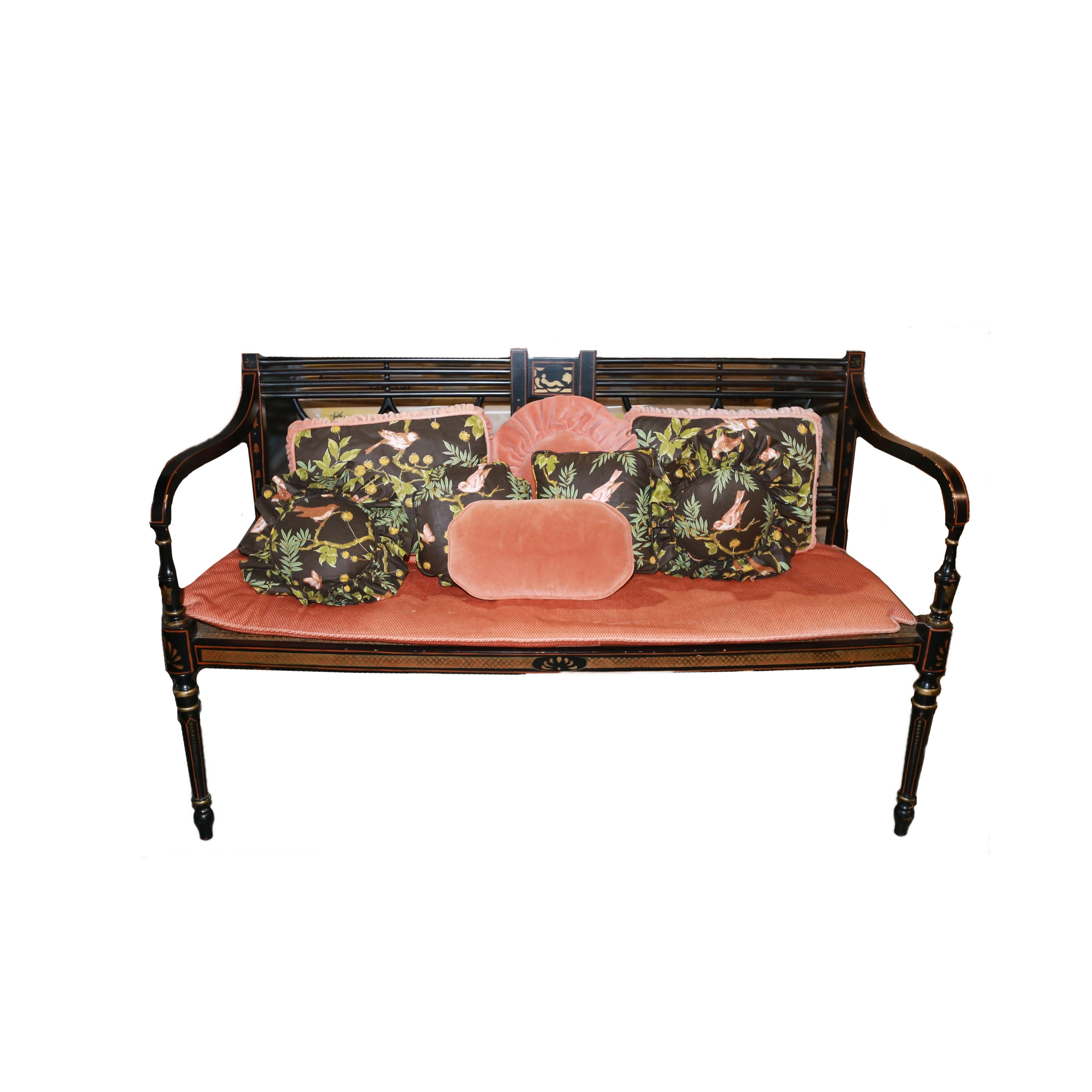 Adams Style Black Lacquer  Bench with Cane Seat