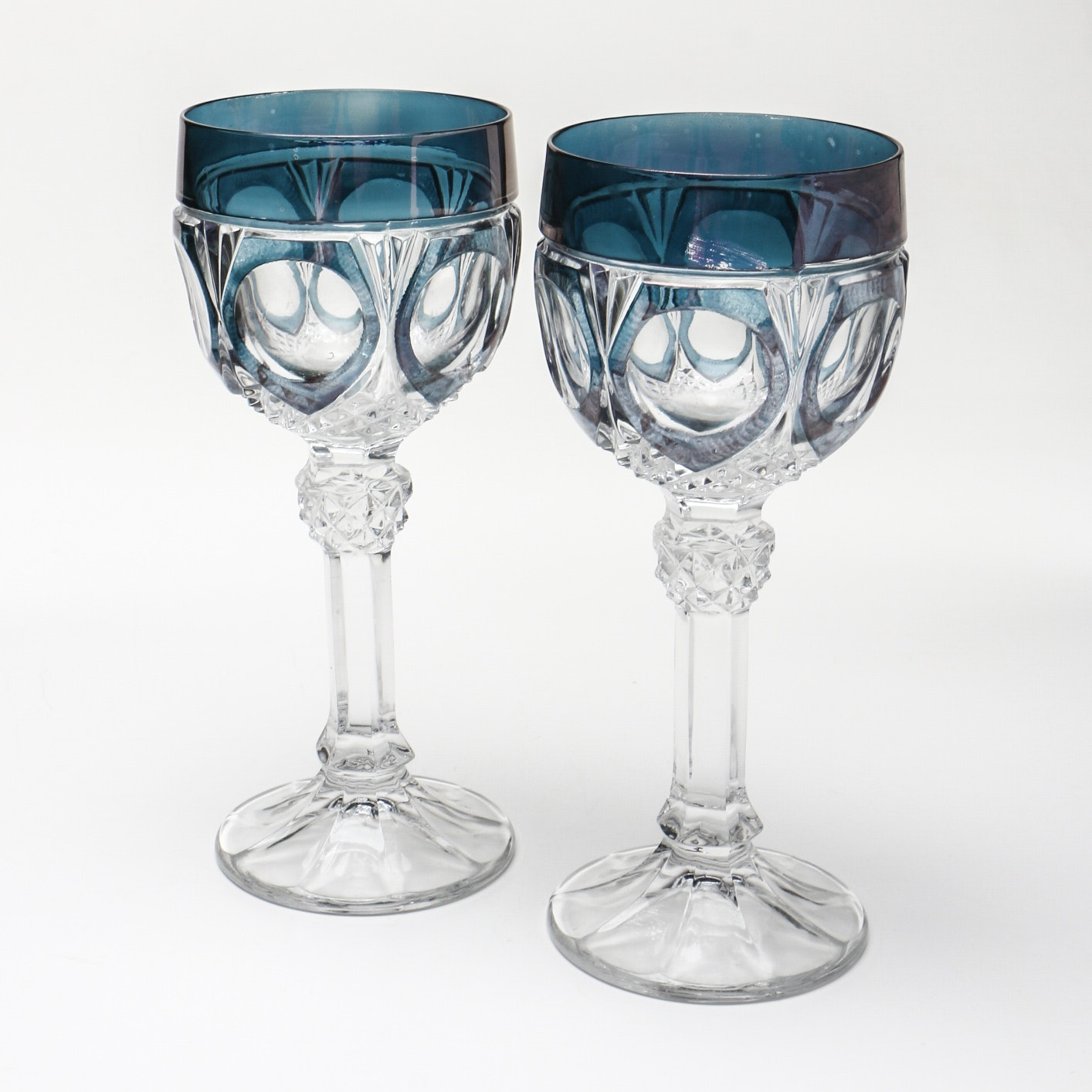 Blue Tinted Pressed Glass Wine Goblets