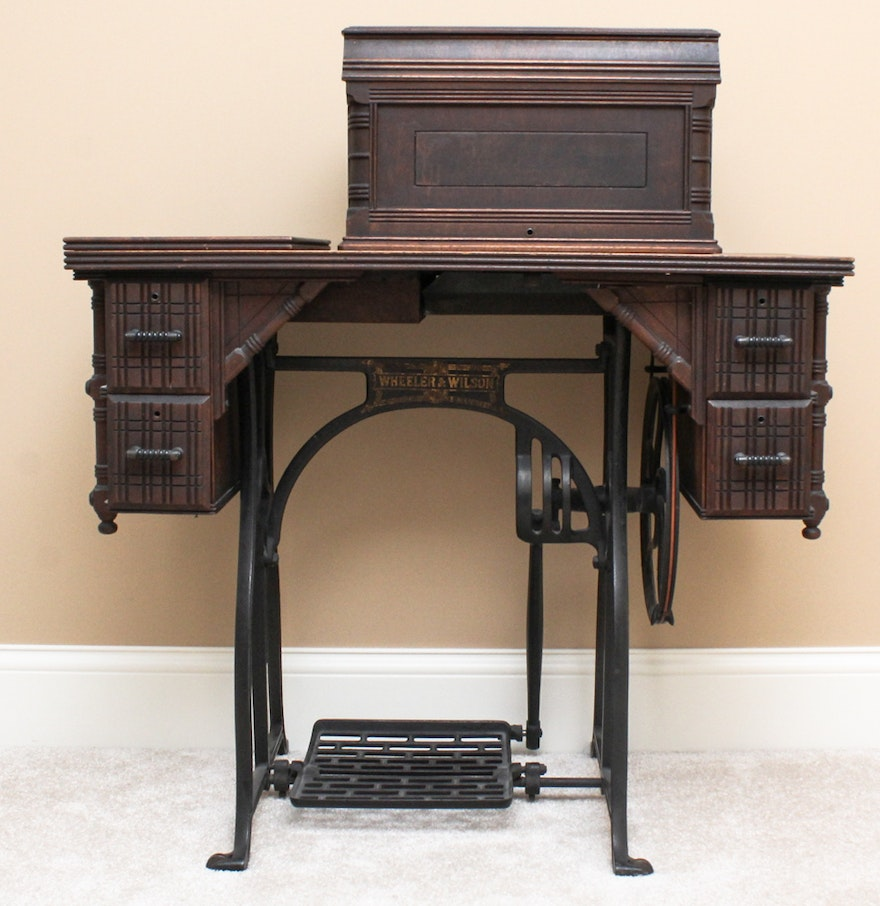 Treadle Sewing Machine Cabinet Antique Wheeler Wilson No 9 Treadle Sewing Machine Ebth
