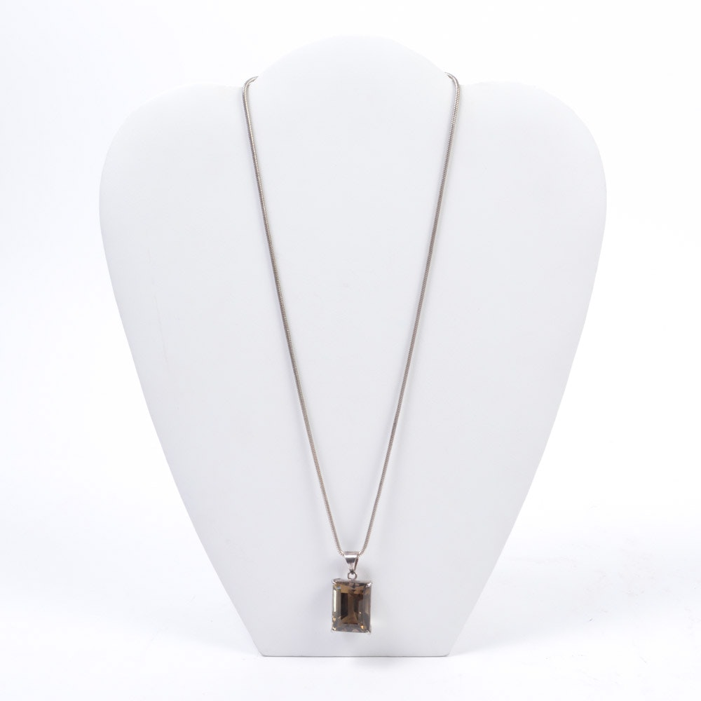 Sterling Silver Smoky Quartz Pendant on Chain