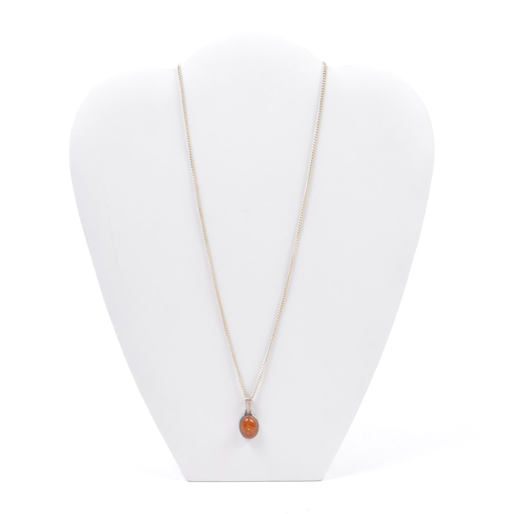 Sterling Silver Amber Pendant on Silver Tone Chain