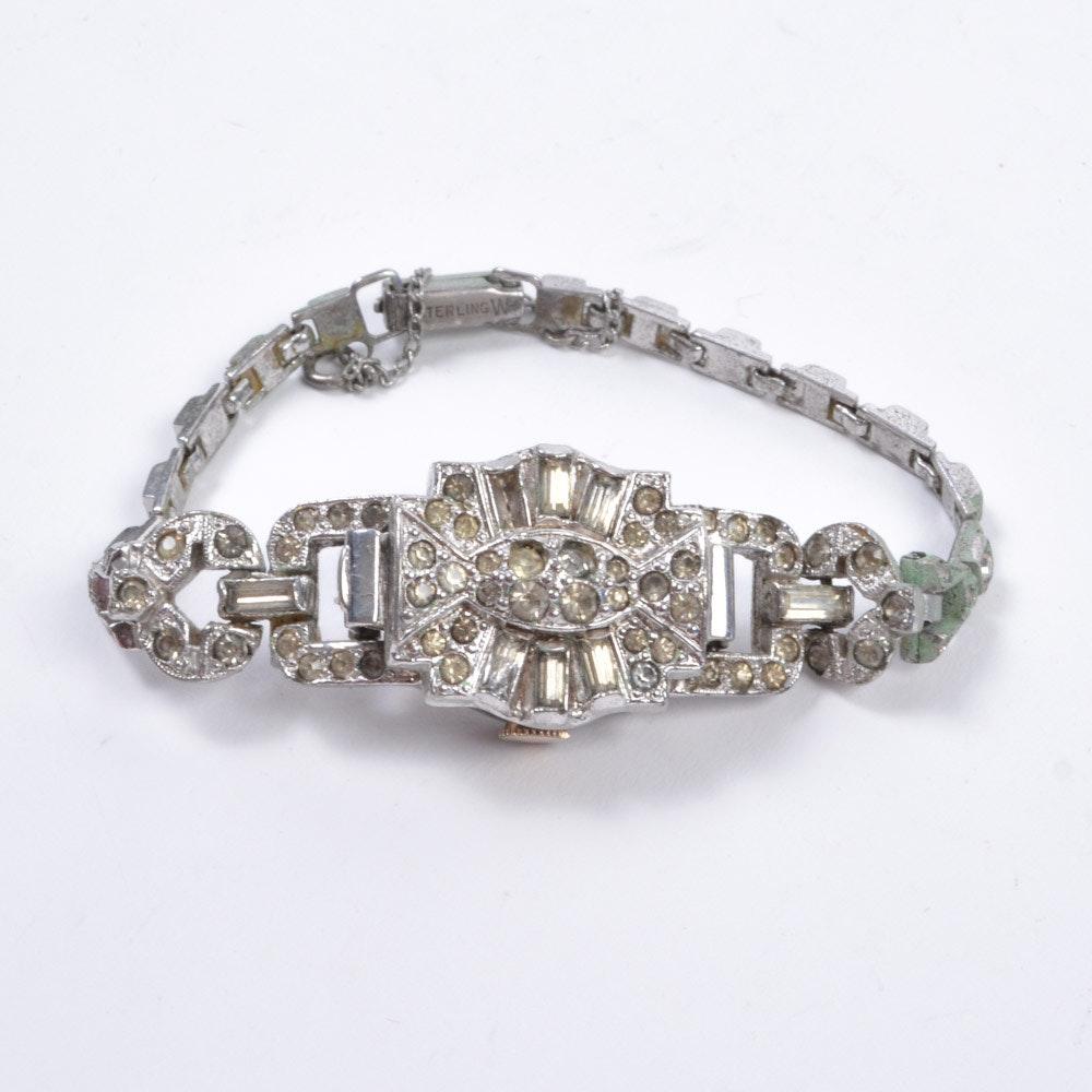 Vintage Bulova Silver Tone and Sterling Rhinestone Wristwatch