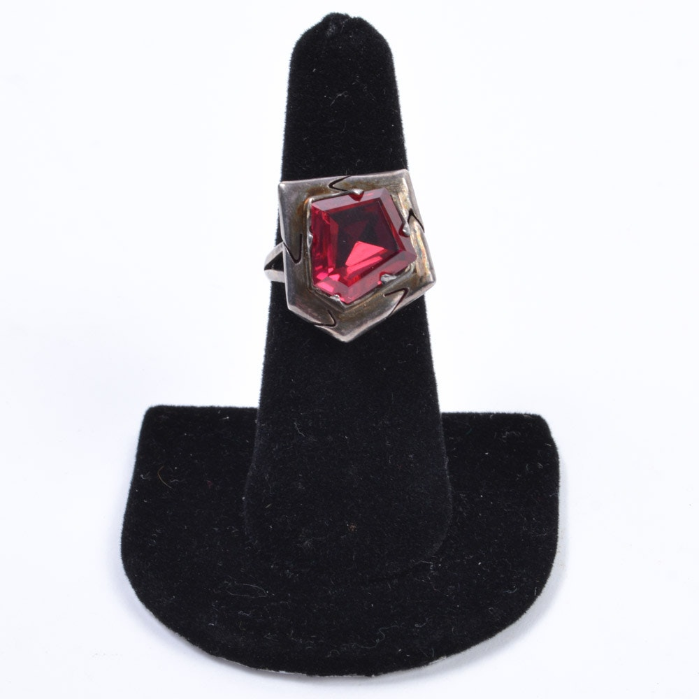 Sterling Silver Synthetic Ruby Ring