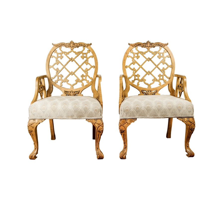 Two Trellis Pattern Armed Dining Chairs By Oscar De La