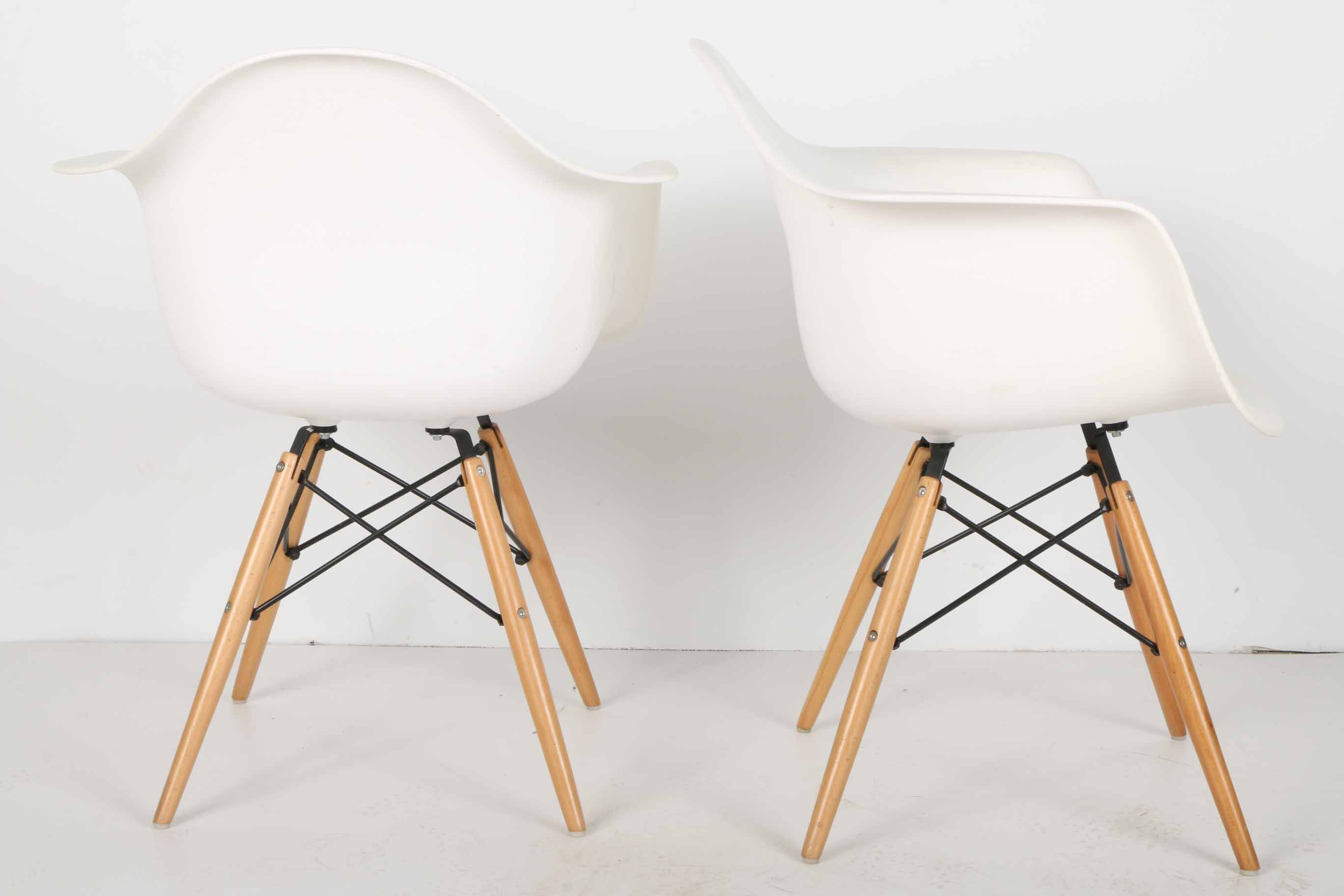 Pair of Mid Century Modern White Shell Chairs