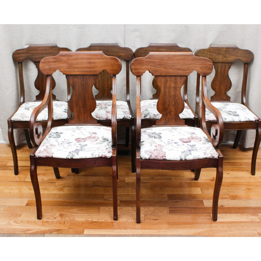 Six Antique Walnut Saber Leg Dining Chairs ... - Six Antique Walnut Saber Leg Dining Chairs : EBTH