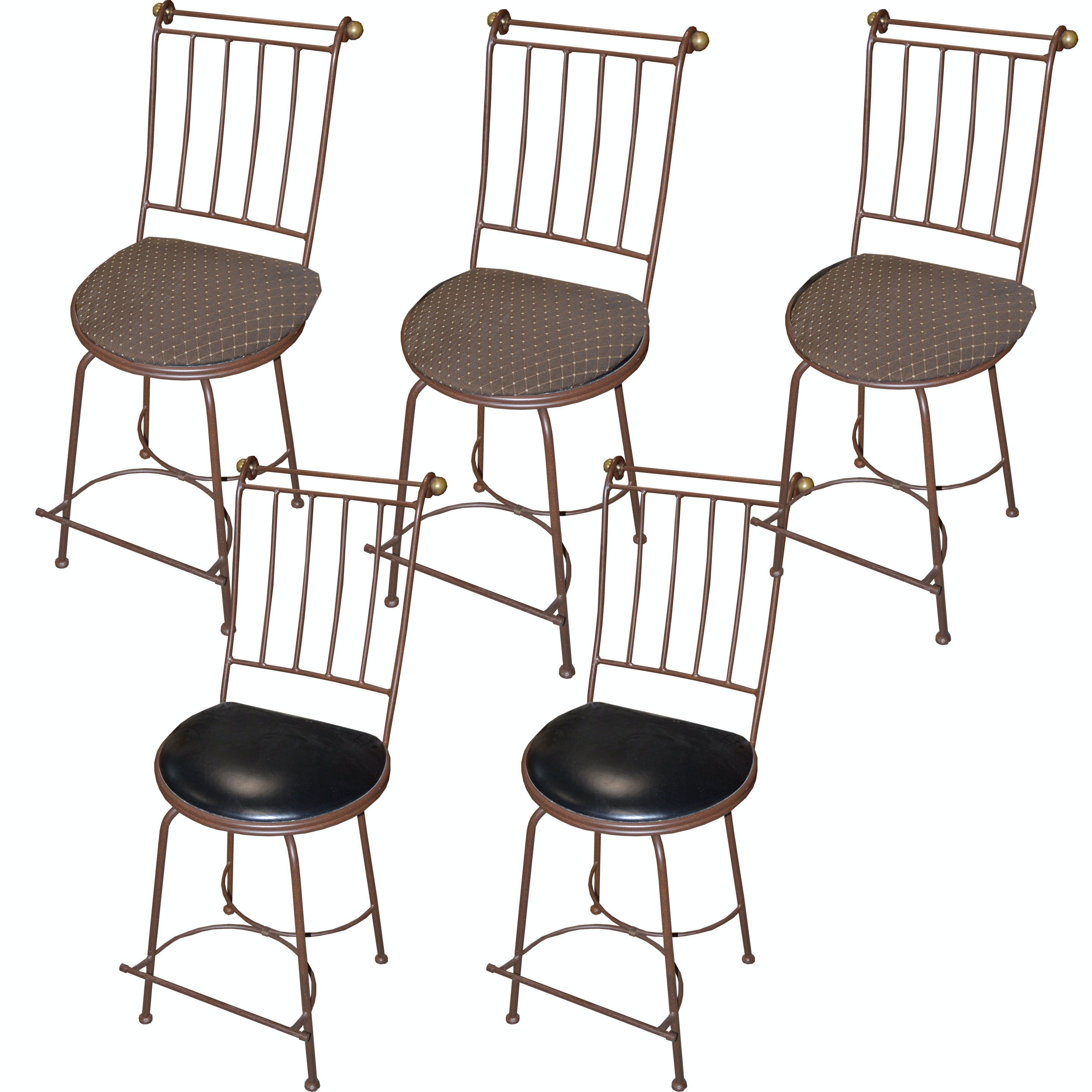 Five Padded Swivel Chairs with Brushed Metal Frames