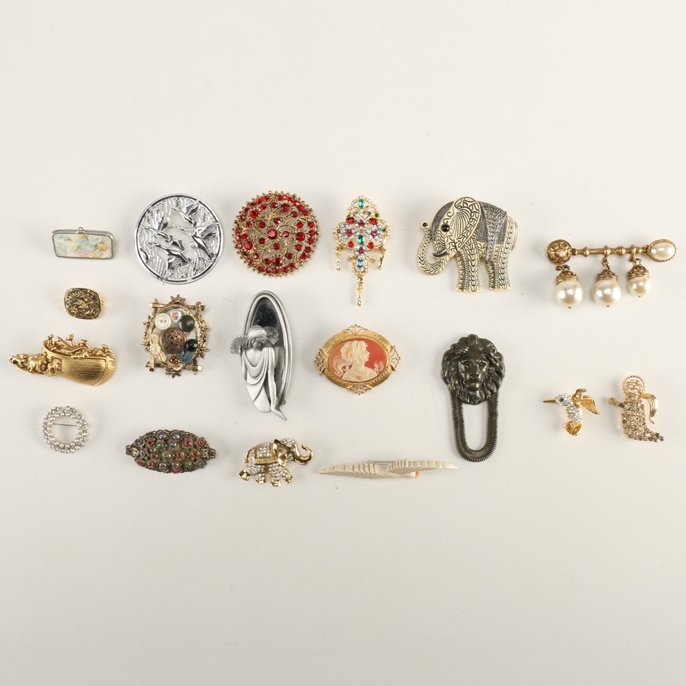 Signed Costume Jewelry Pins