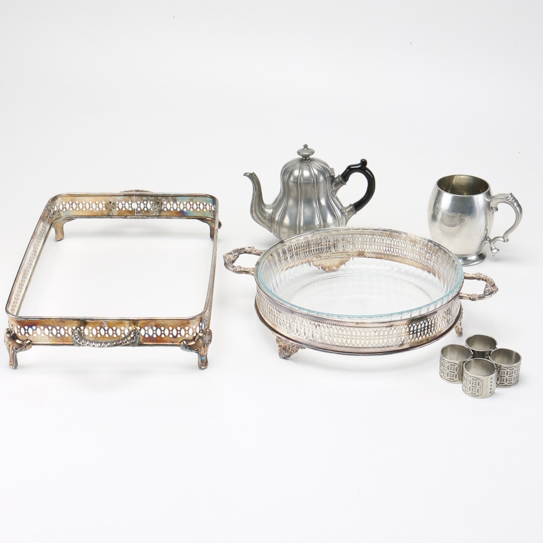 Assortment of Silver Plate and Pewter Tableware