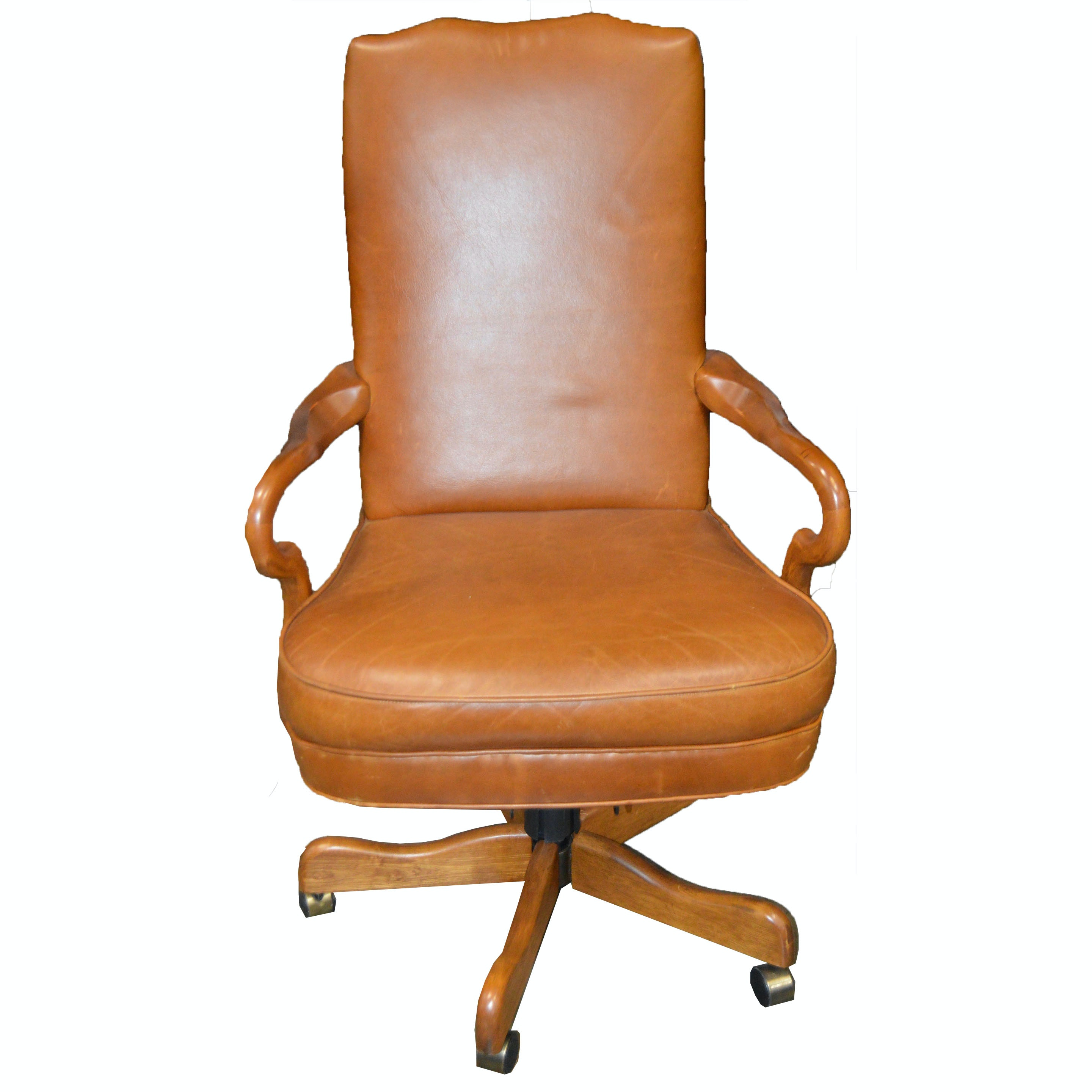 Leather Office Chair with Carved Wood Side Arms