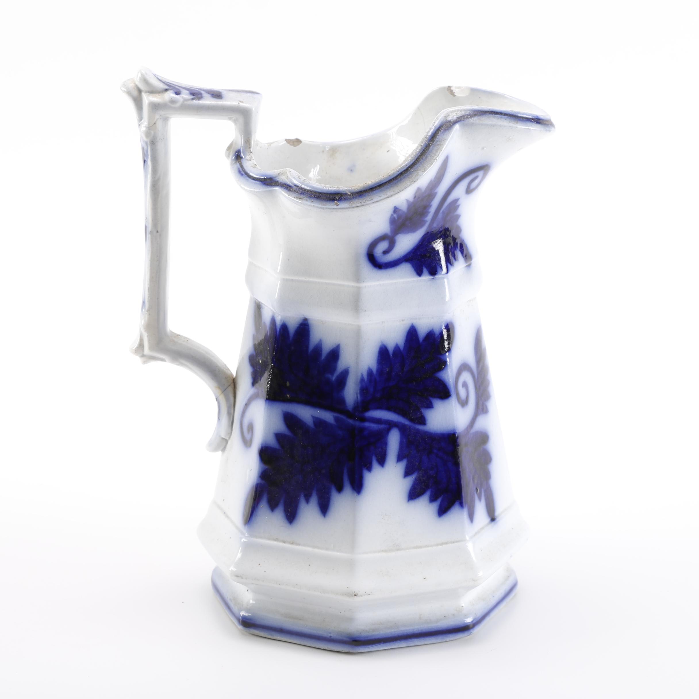 Flow Blue Style Ceramic Pitcher