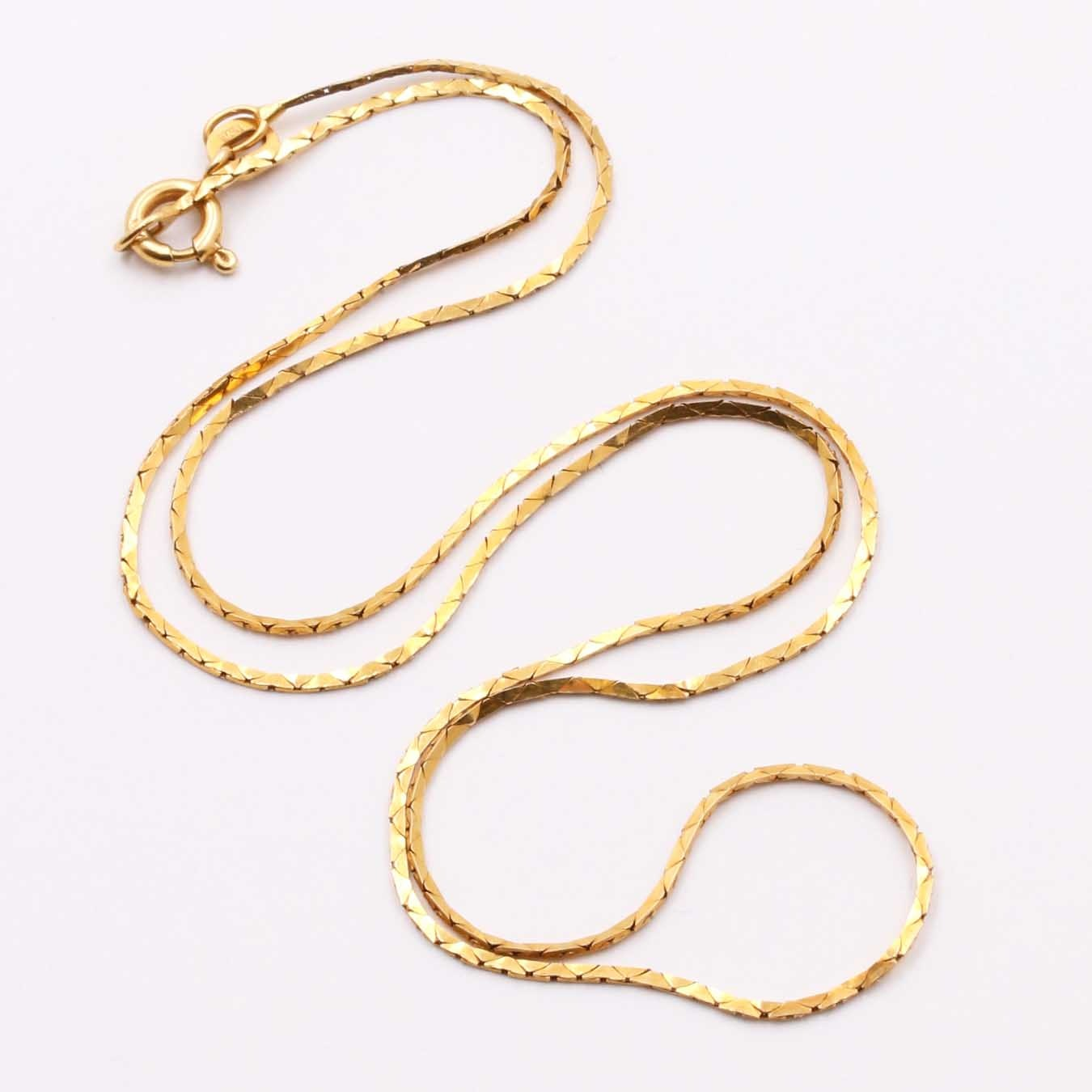 18K Yellow Gold Cobra Chain Necklace