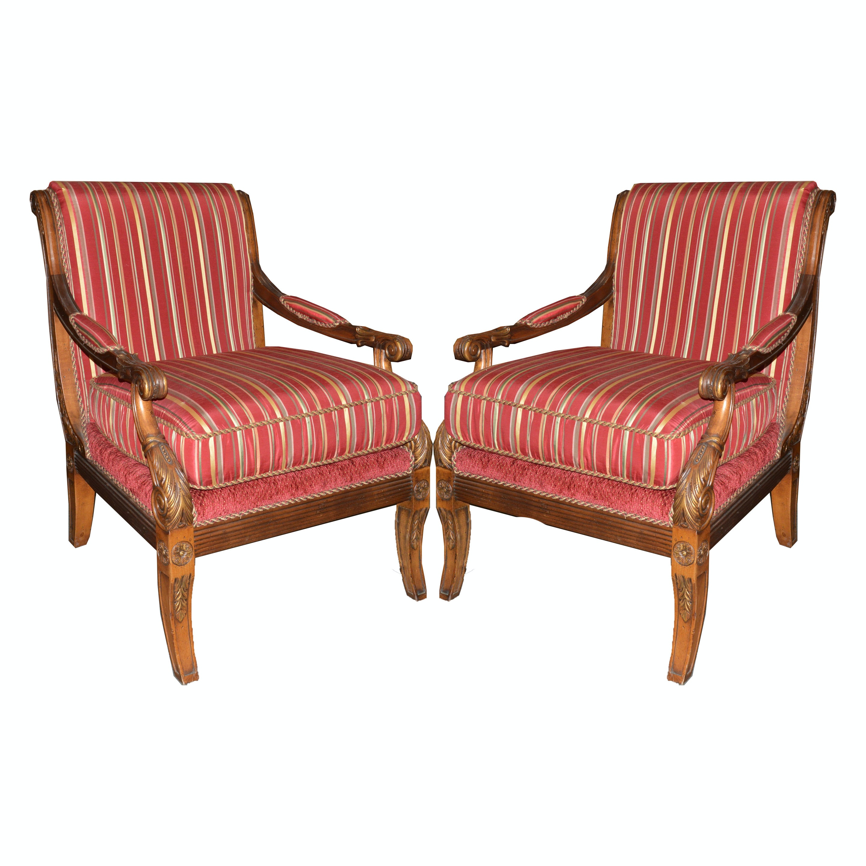 Pair of Upholstered Armchairs in Carved Wood Frames