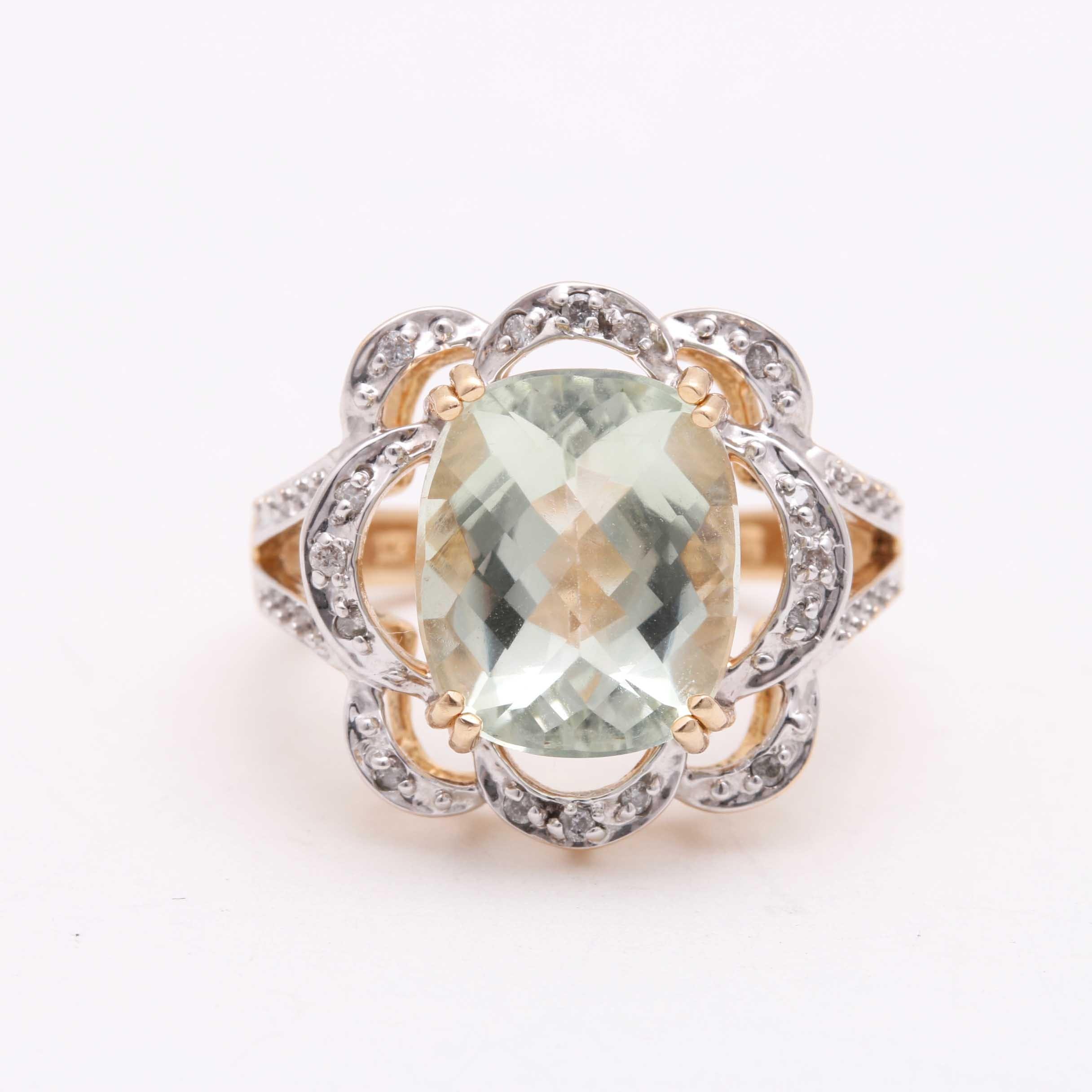 14K Yellow Gold Praseolite and Diamond Ring