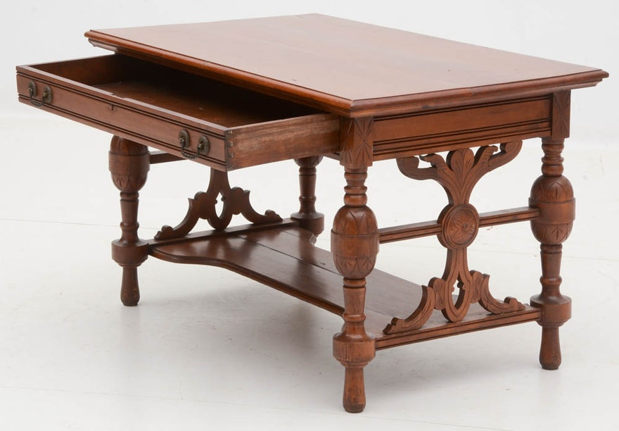 5400359 Carved Cherry Victorian Library Table on Quarter Sawn Oak Library Table