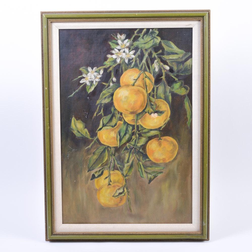 Framed Oil on Canvas Fruit Tree Branch