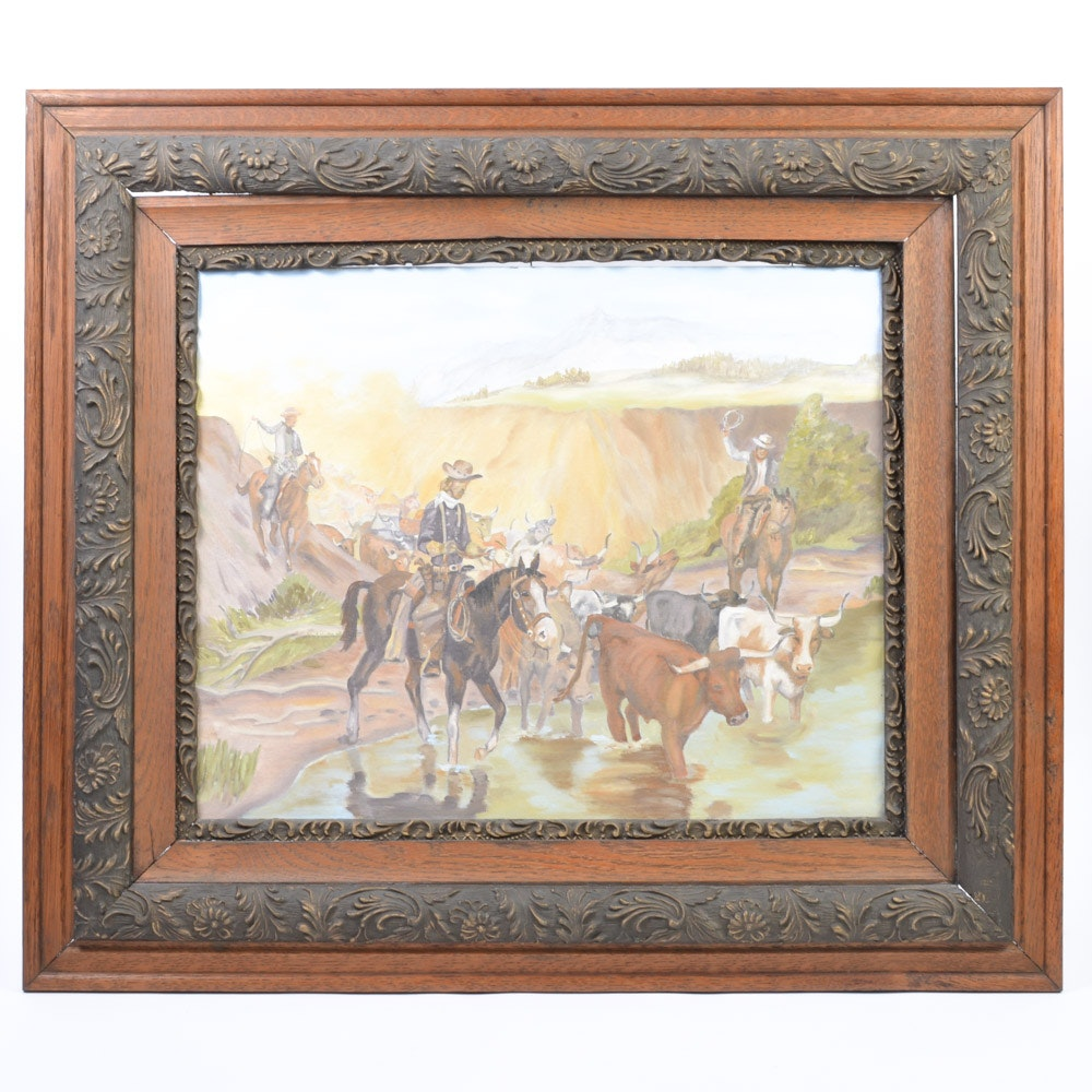 Framed Oil on Canvas of Cowboys Herding Cattle