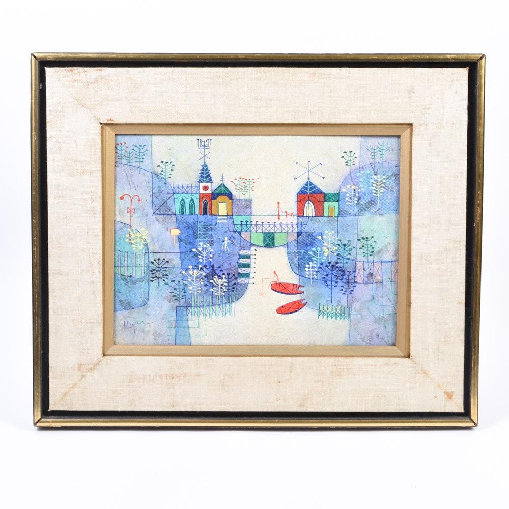 """Heshi Yu Oil on Canvas Board """"Blue Canal"""""""