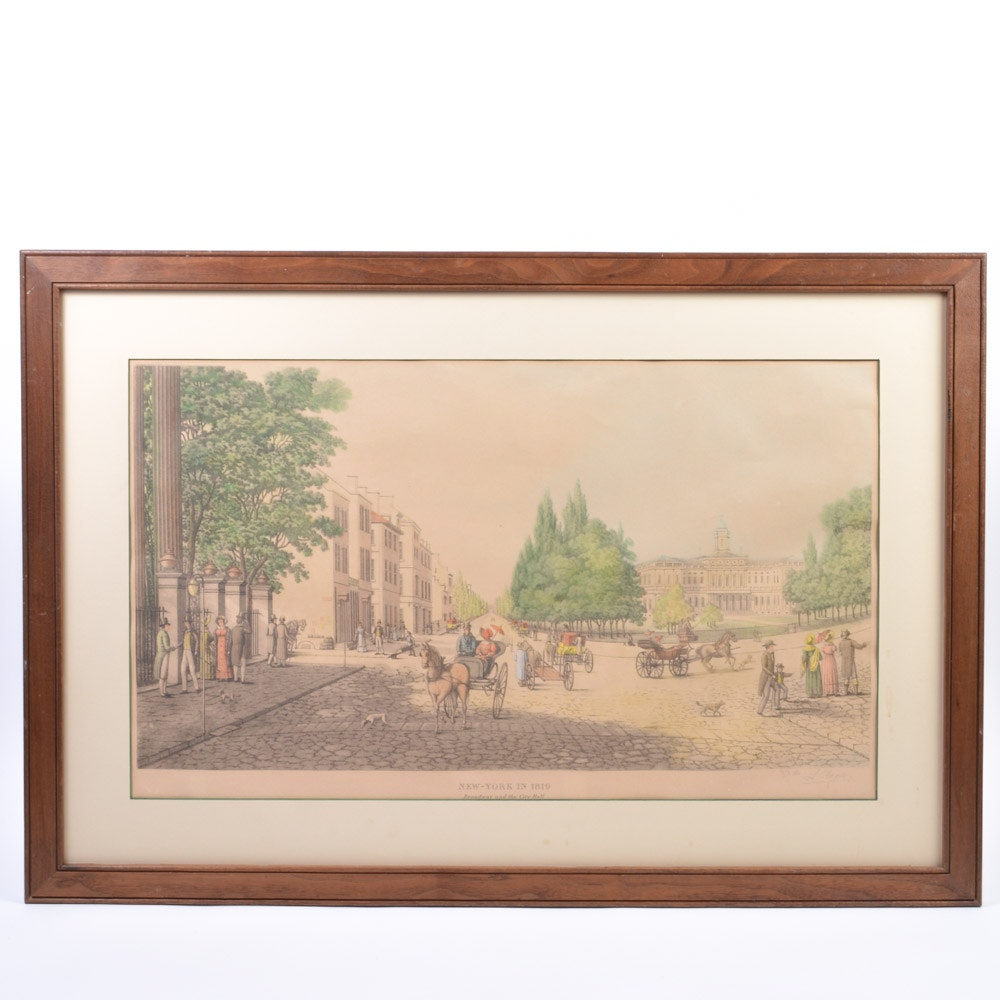 """After Louis Augier Aquatint Etching """"New York in 1819: Broadway and the City Hall"""""""