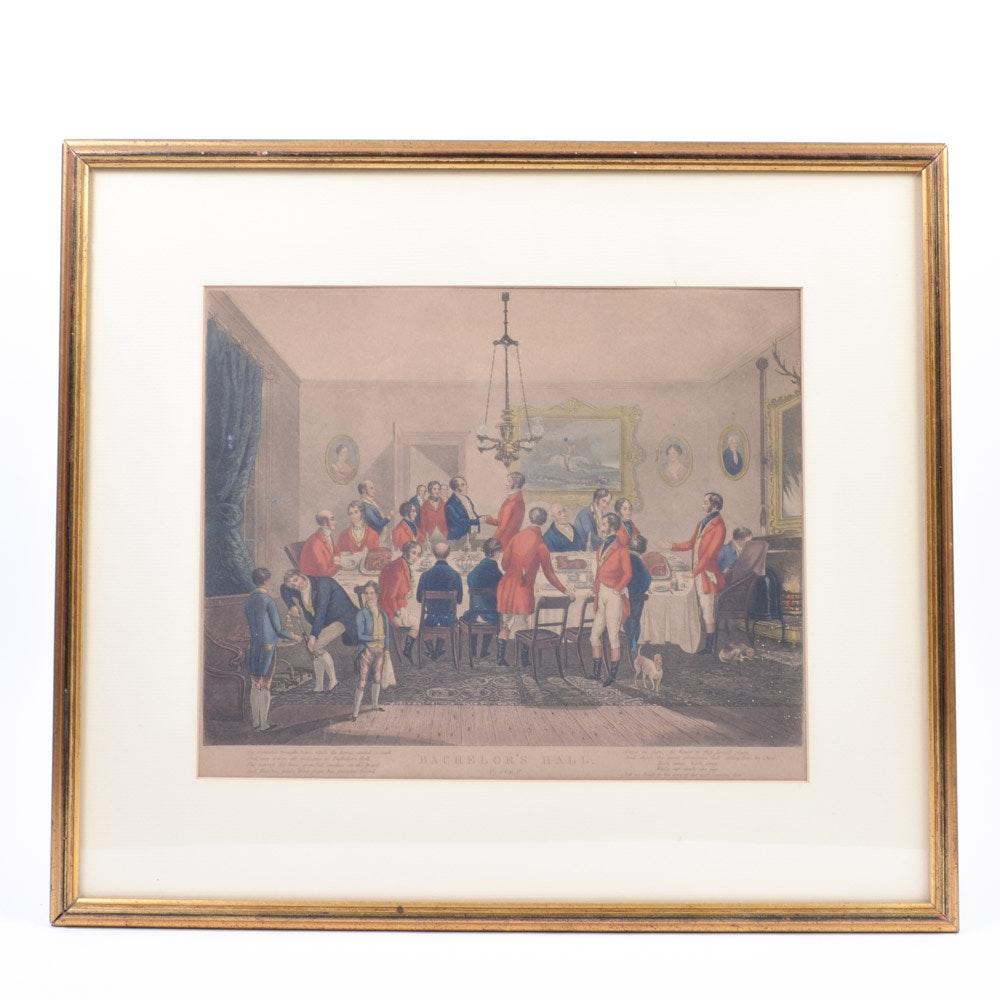 "After Francis Calcraft Turner Aquatint ""Bachelor's Hall"""