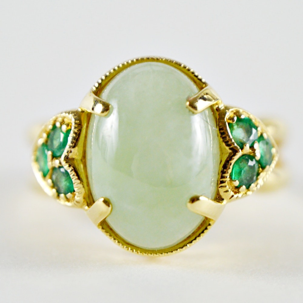 14K Yellow Gold Jadeite and Emerald Ring